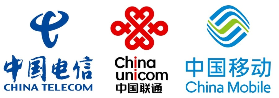 3 main mobile operators in China