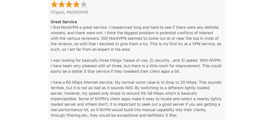 NordVPN user reviews